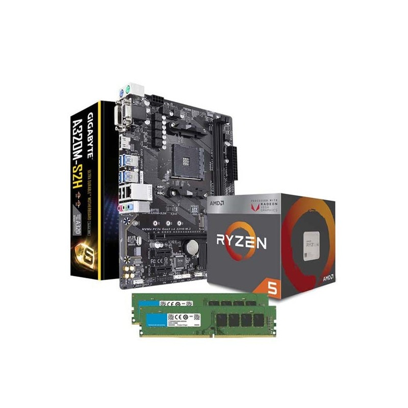 Combo AMD RYZEN 5 2400G - Mother ASUS A320 - 2x4GB DDR4