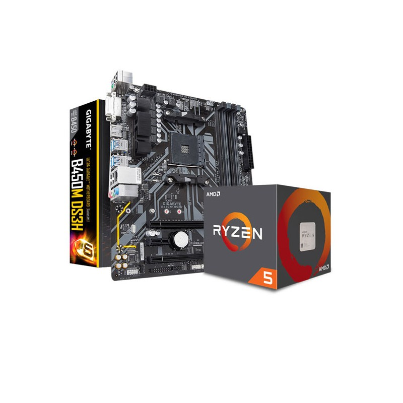 COMBO AMD RYZEN 5 2600 - MOTHER GIGABYTE B450M DS3H