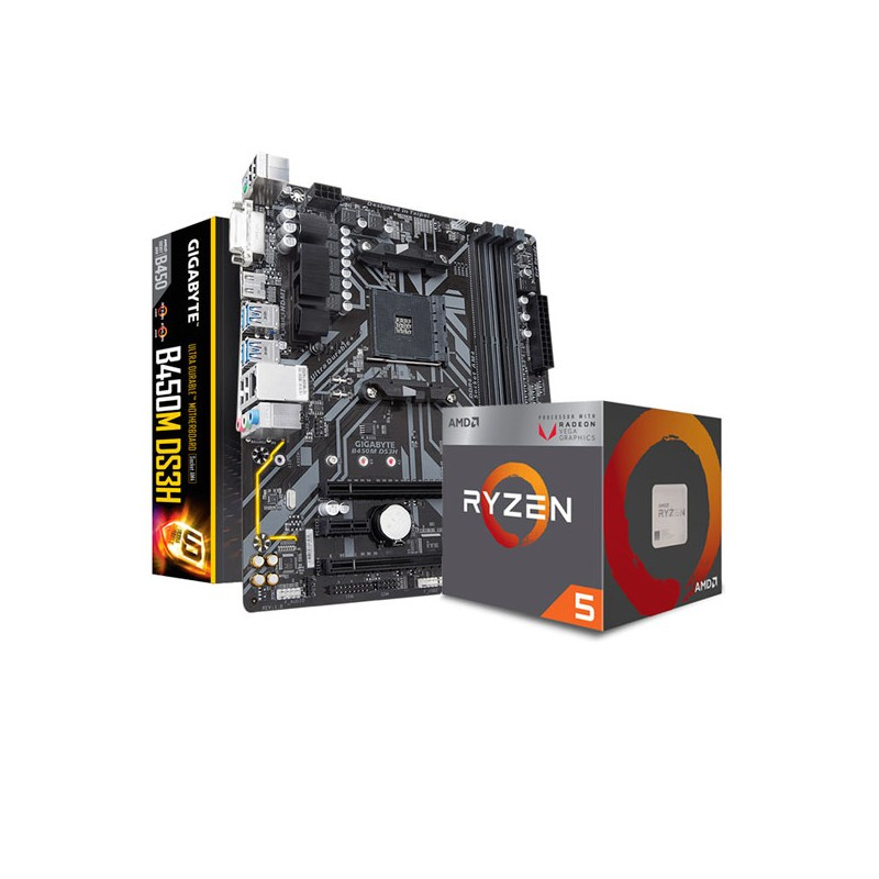 COMBO AMD RYZEN 5 2400G - MOTHER GIGABYTE B450M DS3H