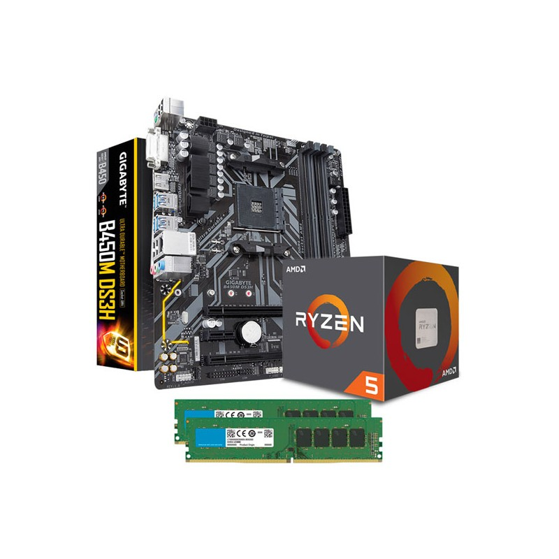 Combo AMD RYZEN 5 2600X - Mother Gigabyte B450M - 2X4GB DDR4